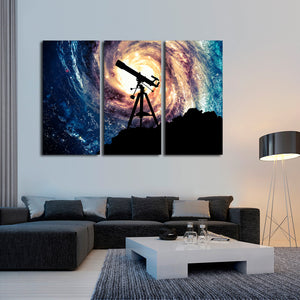 Stargazing Multi Panel Canvas Wall Art - Astronomy