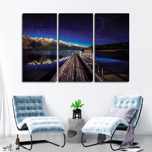 Starry Lake Multi Panel Canvas Wall Art - Nature