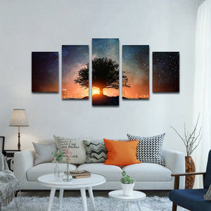 Starry Tree Silhouette Multi Panel Canvas Wall Art - Astronomy