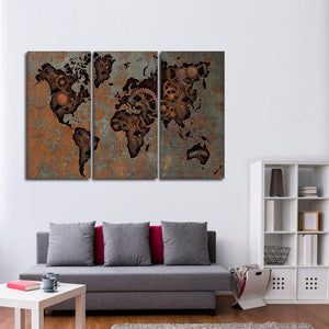 Steampunk World Map Multi Panel Canvas Wall Art - World_map