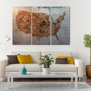 Steel License Plate USA Map Multi Panel Canvas Wall Art - World_map