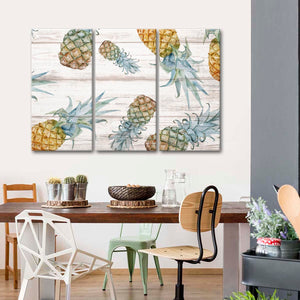 Wooden Pineapples Multi Panel Canvas Wall Art - Pineapple