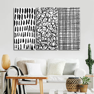 Abstract Bold Patterns Canvas Set Wall Art - Abstract