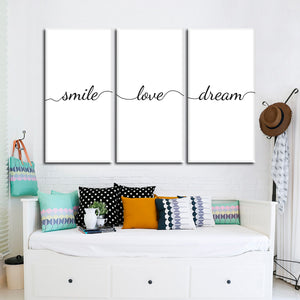 Smile Love Dream Multi Panel Canvas Wall Art - Inspiration