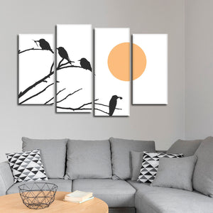 Birds By The Sun Multi Panel Canvas Wall Art - Bird