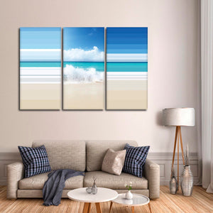 Turquoise Coast Colorblock Multi Panel Canvas Wall Art - Beach