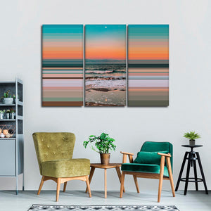 Spectacular Sunset Colorblock Multi Panel Canvas Wall Art - Beach