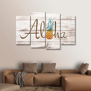Aloha Multi Panel Canvas Wall Art - Pineapple