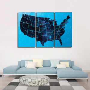 Sparkling USA Map Multi Panel Canvas Wall Art - Usa_map