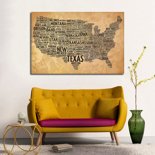 Usa typography map multi panel canvas wall art elephantstock usa typography map multi panel canvas wall art gumiabroncs Images