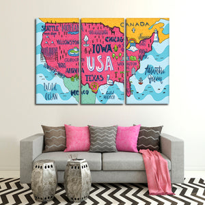 Exciting USA Map Multi Panel Canvas Wall Art - Usa_map