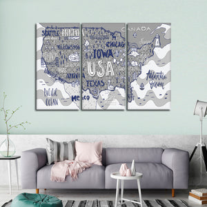 Fun USA Map Multi Panel Canvas Wall Art - Usa_map