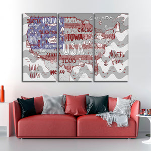 Patriotic USA Map Multi Panel Canvas Wall Art - Usa_map