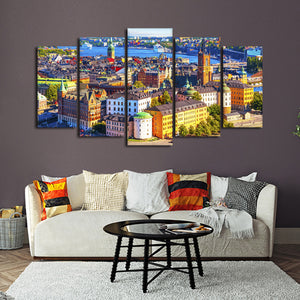 Stockholm Multi Panel Canvas Wall Art - City