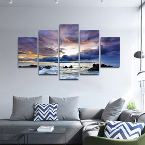 Storm At Cannon Beach Multi Panel Canvas Wall Art - Beach