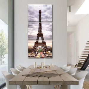 Storm Clouds Eiffel Tower Multi Panel Canvas Wall Art - Paris