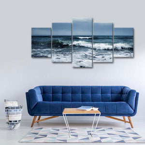 Stormy Waves Multi Panel Canvas Wall Art - Beach