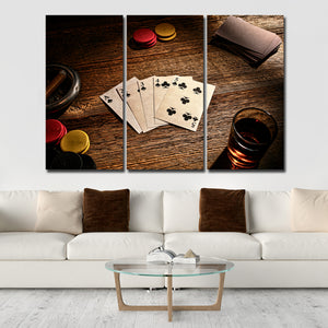 Straight Flush Multi Panel Canvas Wall Art - Poker