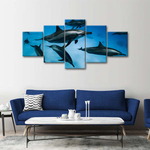 Striped Dolphins Multi Panel Canvas Wall Art - Dolphin