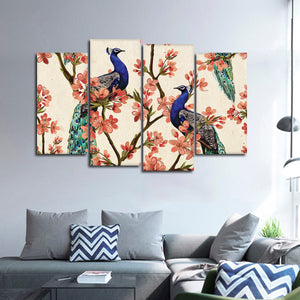 Royal Peacocks Multi Panel Canvas Wall Art - Asian