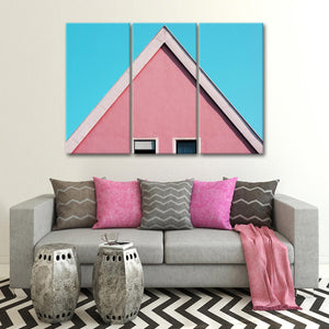 Stunning Pink Roof Multi Panel Canvas Wall Art - Architecture