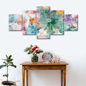 Succulent Florals Crop Multi Panel Canvas Wall Art - Flower