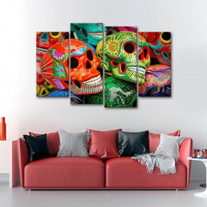 Sugar Skulls Multi Panel Canvas Wall Art - Skull