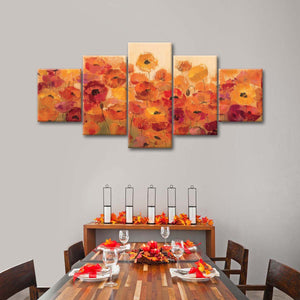 Summer Poppies Multi Panel Canvas Wall Art - Flower