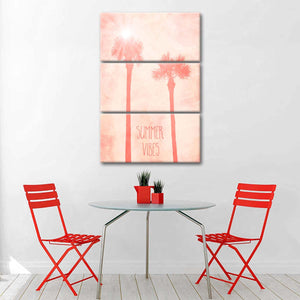 Summer Vibes Living Coral Multi Panel Canvas Wall Art - Beach