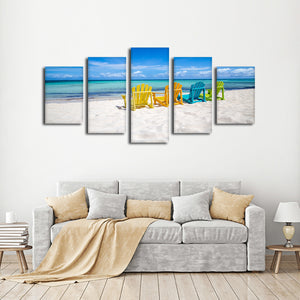 Sun Bathing Multi Panel Canvas Wall Art - Beach