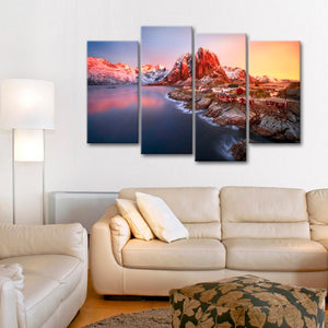 Sunrise In Norway Multi Panel Canvas Wall Art - Nature
