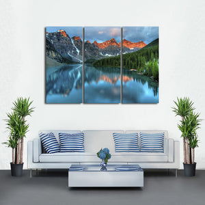 Sunrise at Moraine Lake Multi Panel Canvas Wall Art - Nature