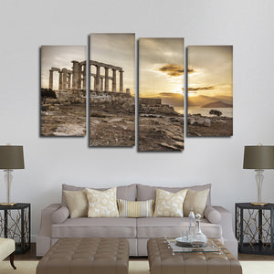 Sunrise At Temple Poseidon Multi Panel Canvas Wall Art - Landmarks