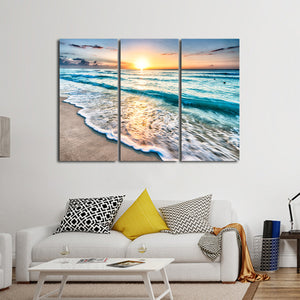 Sunrise in Tulum Multi Panel Canvas Wall Art - Beach