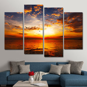 Sunset At Carmel Beach Multi Panel Canvas Wall Art - Beach