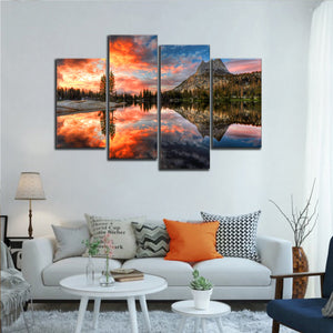 Sunset At Yosemite Park Multi Panel Canvas Wall Art - Nature