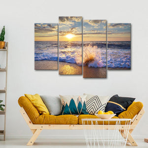 Sunset Beach Time Multi Panel Canvas Wall Art - Beach