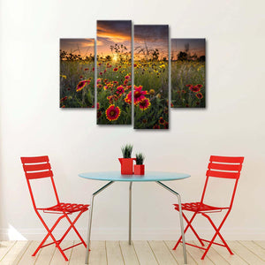 Sunset Beauty Multi Panel Canvas Wall Art - Flower