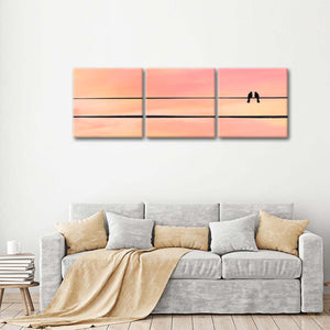 Sunset Bird Affection Multi Panel Canvas Wall Art - Bird