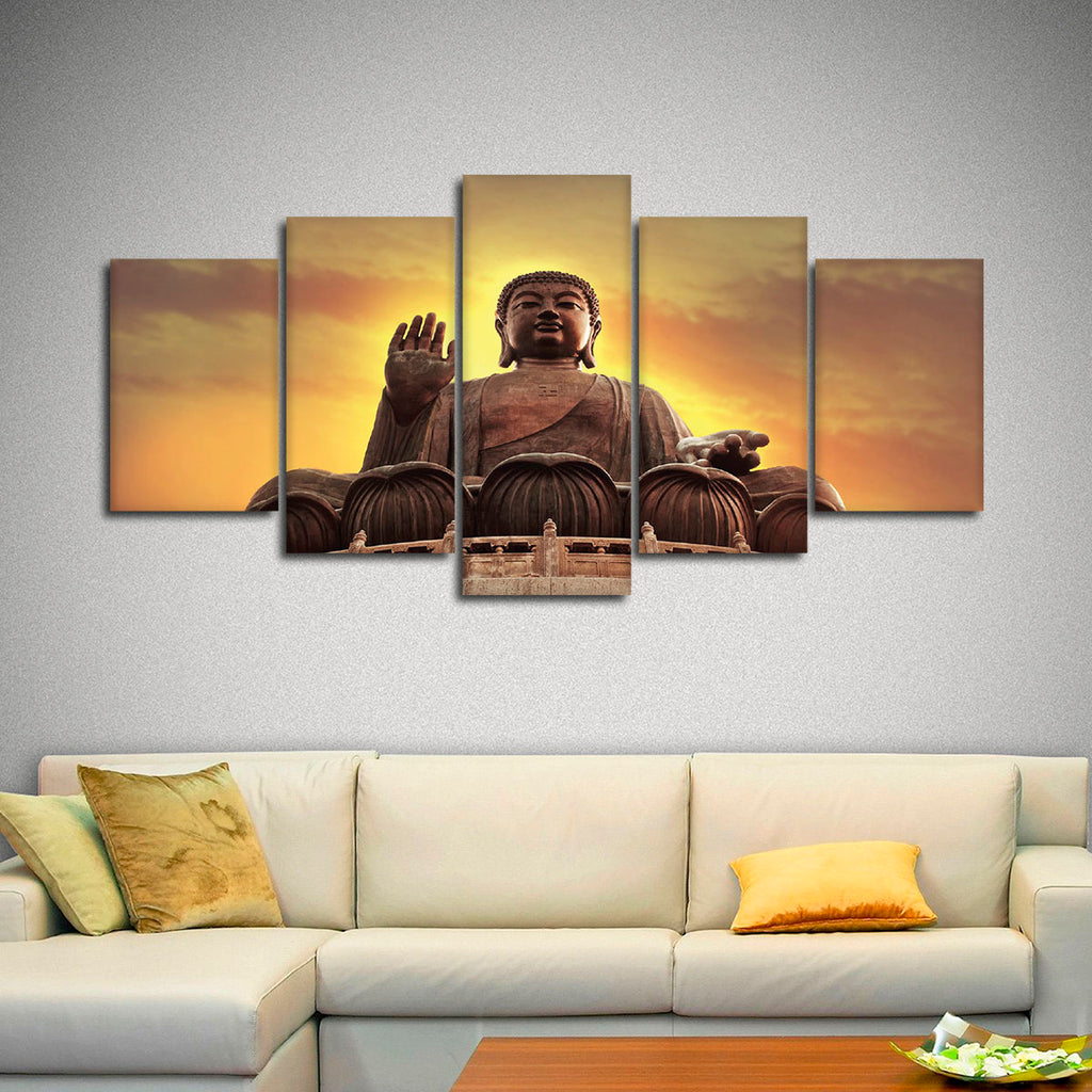 Sunset buddha multi panel canvas wall art elephantstock