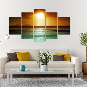 Sunset Glory Multi Panel Canvas Wall Art - Beach