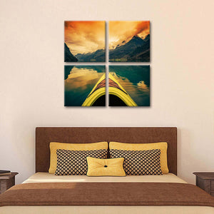 Sunset Kayak Journey Multi Panel Canvas Wall Art - Kayak