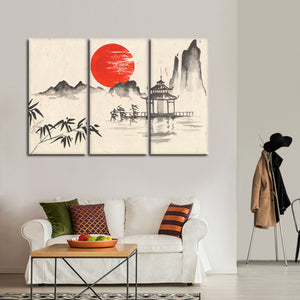 Sunset On The Temple Multi Panel Canvas Wall Art - Asian