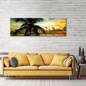 Sunset Palm Tree Multi Panel Canvas Wall Art - Beach