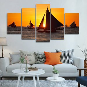 Sunset Sailing Multi Panel Canvas Wall Art - Boat
