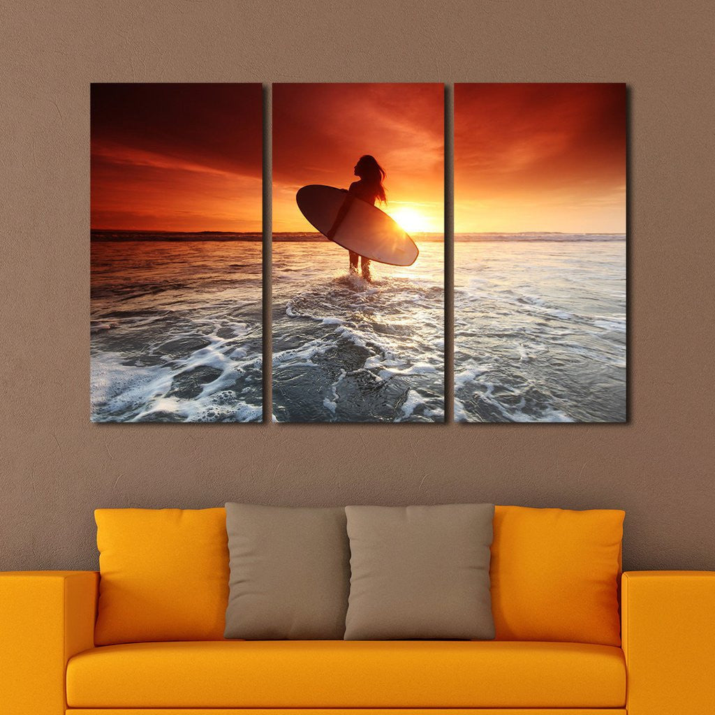 sunset surf multi panel canvas wall art elephantstock. Black Bedroom Furniture Sets. Home Design Ideas