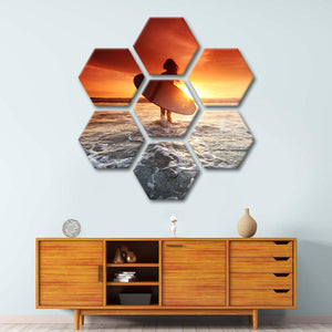 Sunset Surf Multi Panel Canvas Wall Art - Beach