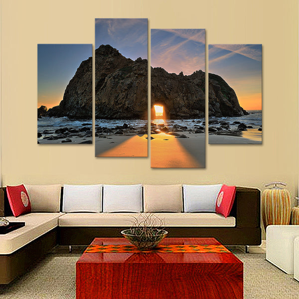 Sunset Through The Rocks Multi Panel Canvas Wall Art
