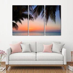 Sunset at Varadero Multi Panel Canvas Wall Art - Beach