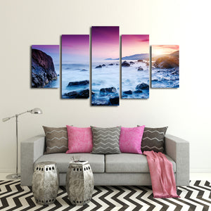 Sunset in Yellowstone Lake Multi Panel Canvas Wall Art - Beach